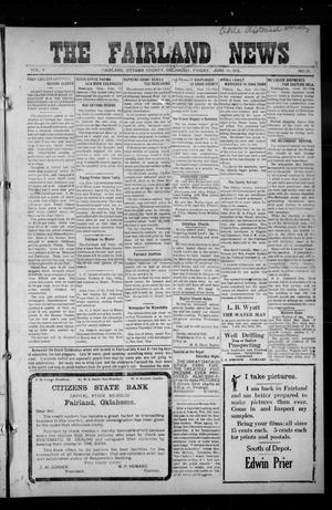 Primary view of object titled 'The Fairland News (Fairland, Okla.), Vol. 5, No. 13, Ed. 1 Friday, June 14, 1912'.