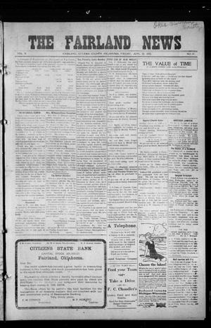 Primary view of object titled 'The Fairland News (Fairland, Okla.), Vol. 5, No. 17, Ed. 1 Friday, July 12, 1912'.
