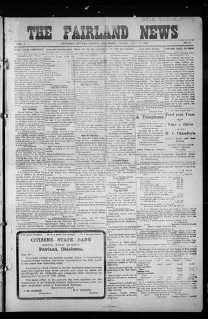 Primary view of object titled 'The Fairland News (Fairland, Okla.), Vol. 5, No. 18, Ed. 1 Friday, July 19, 1912'.
