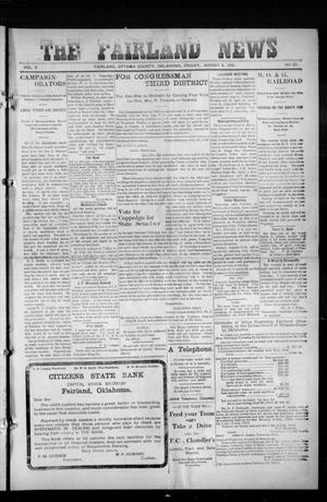 Primary view of object titled 'The Fairland News (Fairland, Okla.), Vol. 5, No. 20, Ed. 1 Friday, August 2, 1912'.
