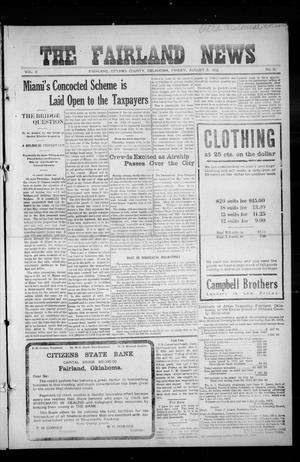Primary view of object titled 'The Fairland News (Fairland, Okla.), Vol. 5, No. 21, Ed. 1 Friday, August 9, 1912'.