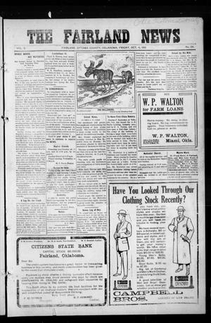 Primary view of object titled 'The Fairland News (Fairland, Okla.), Vol. 5, No. 29, Ed. 1 Friday, October 4, 1912'.