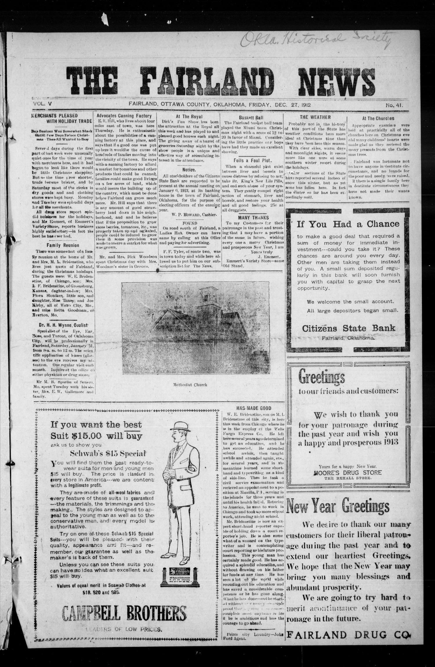 The Fairland News (Fairland, Okla.), Vol. 5, No. 41, Ed. 1 Friday, December 27, 1912                                                                                                      [Sequence #]: 1 of 8