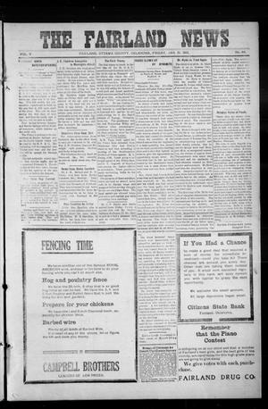 Primary view of object titled 'The Fairland News (Fairland, Okla.), Vol. 5, No. 46, Ed. 1 Friday, January 31, 1913'.