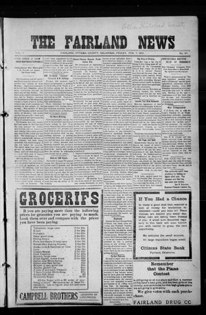 Primary view of object titled 'The Fairland News (Fairland, Okla.), Vol. 5, No. 47, Ed. 1 Friday, February 7, 1913'.