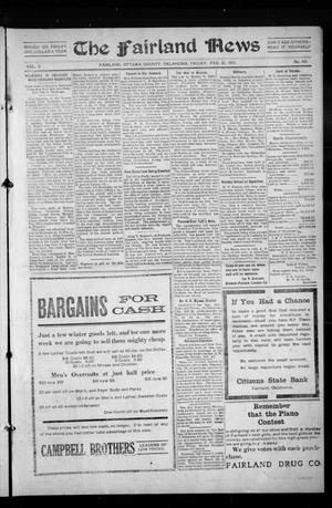 Primary view of object titled 'The Fairland News (Fairland, Okla.), Vol. 5, No. 49, Ed. 1 Friday, February 21, 1913'.