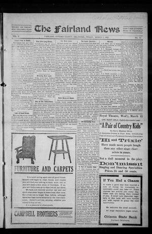 Primary view of object titled 'The Fairland News (Fairland, Okla.), Vol. 5, No. 51, Ed. 1 Friday, March 7, 1913'.
