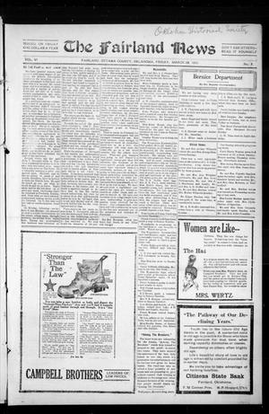 Primary view of object titled 'The Fairland News (Fairland, Okla.), Vol. 6, No. 2, Ed. 1 Friday, March 28, 1913'.