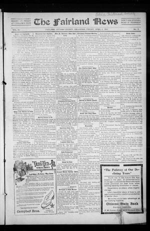 Primary view of object titled 'The Fairland News (Fairland, Okla.), Vol. 6, No. 3, Ed. 1 Friday, April 4, 1913'.