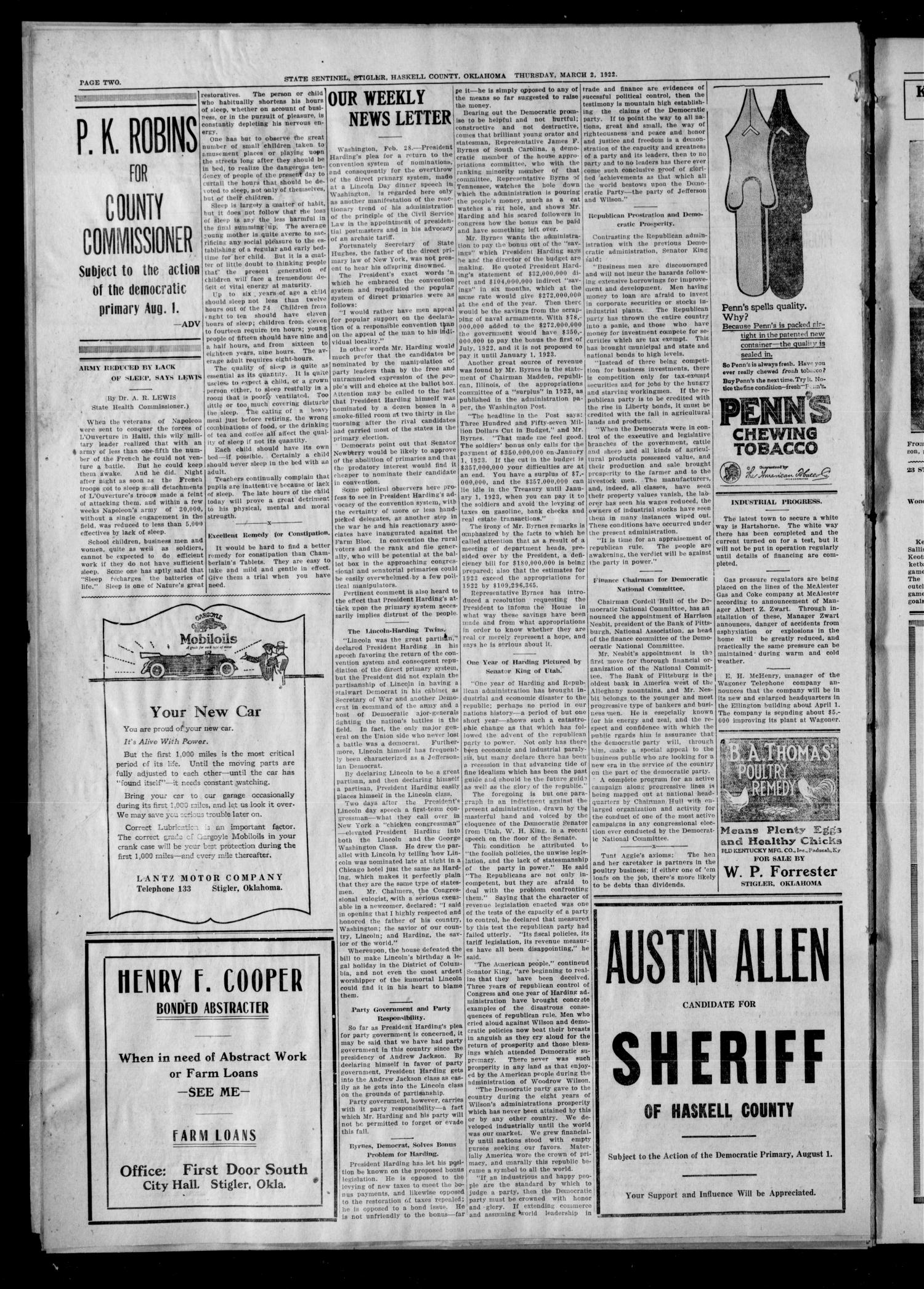 State Sentinel (Stigler, Okla.), Vol. 16, No. 46, Ed. 1 Thursday, March 2, 1922                                                                                                      [Sequence #]: 2 of 8