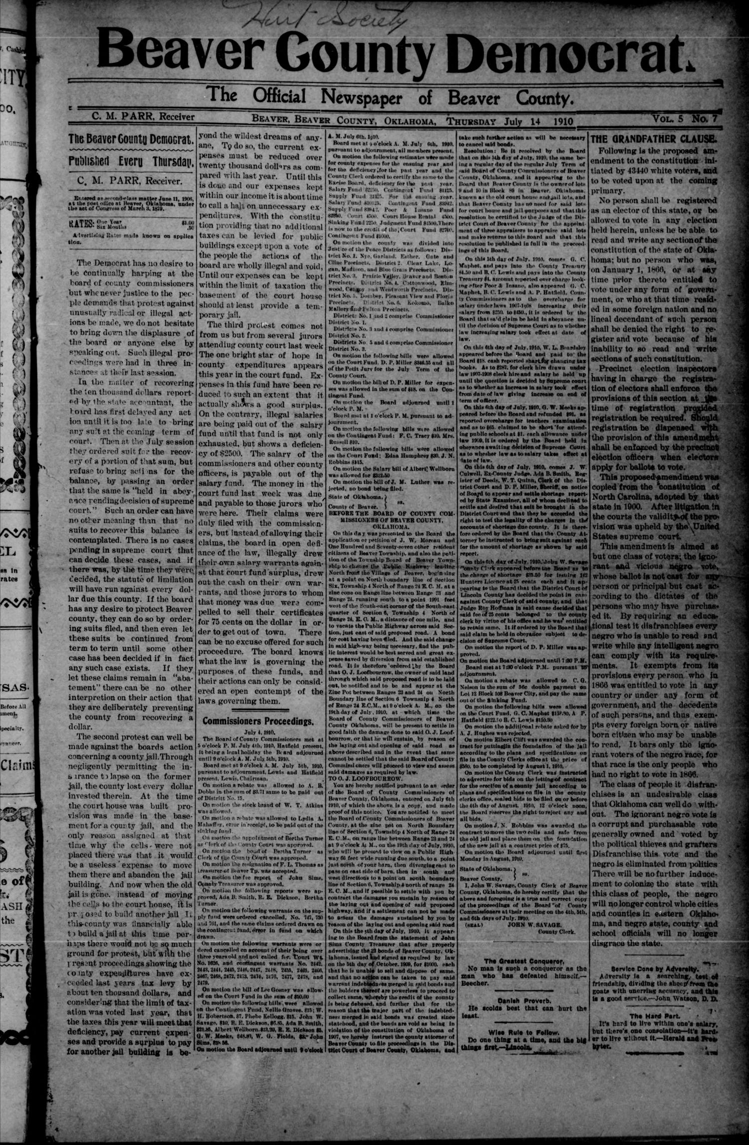 Beaver County Democrat. (Beaver, Okla.), Vol. 5, No. 7, Ed. 1 Thursday, July 14, 1910                                                                                                      [Sequence #]: 1 of 4