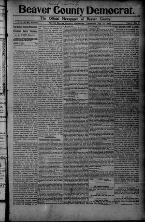 Primary view of object titled 'Beaver County Democrat. (Beaver, Okla.), Vol. 5, No. 7, Ed. 1 Thursday, July 14, 1910'.