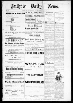 Primary view of Guthrie Daily News. (Guthrie, Okla. Terr.), Vol. 5, No. 1262, Ed. 1 Sunday, August 20, 1893