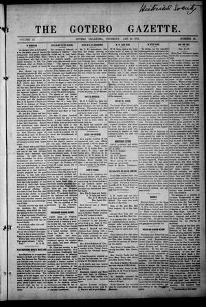 Primary view of object titled 'The Gotebo Gazette (Gotebo, Okla.), Vol. 12, No. 24, Ed. 1 Thursday, January 16, 1913'.