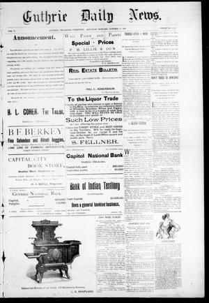Primary view of object titled 'Guthrie Daily News. (Guthrie, Okla. Terr.), Vol. 5, No. 1321, Ed. 1 Saturday, October 28, 1893'.