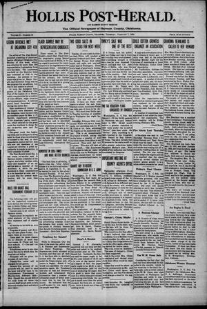 Primary view of Hollis Post-Herald. And Harmon County Tribune (Hollis, Okla.), Vol. 21, No. 13, Ed. 1 Thursday, February 7, 1924