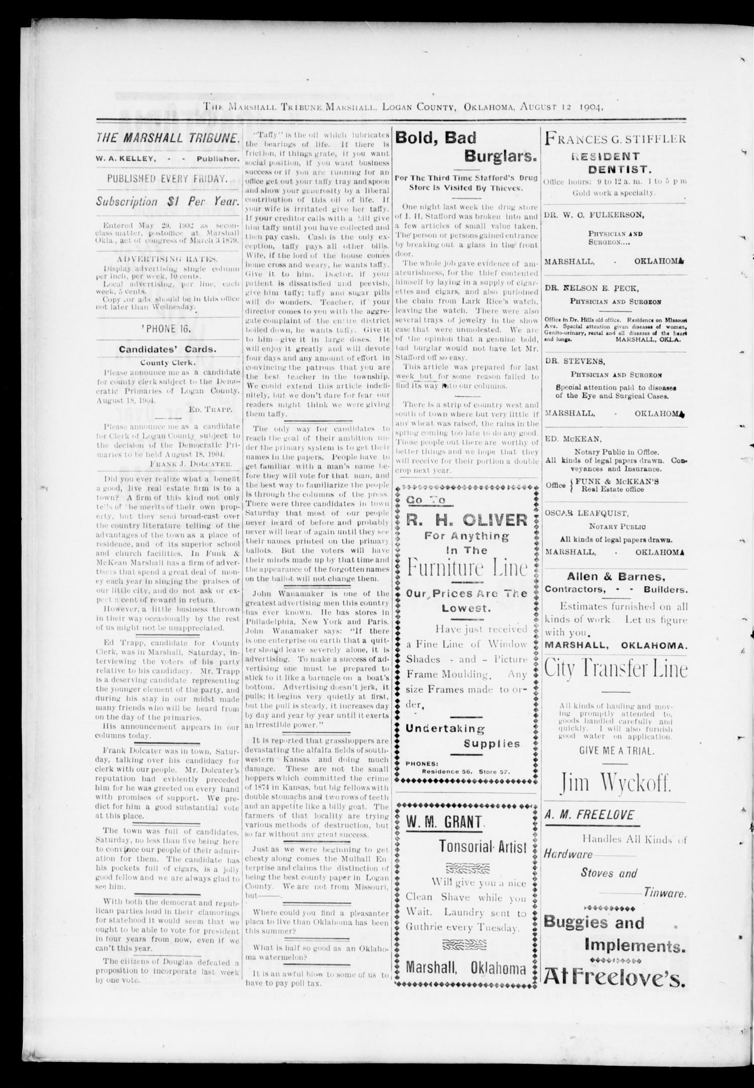 The Marshall Tribune. (Marshall, Okla.), Vol. 3, No. 16, Ed. 1 Friday, August 12, 1904                                                                                                      [Sequence #]: 4 of 12