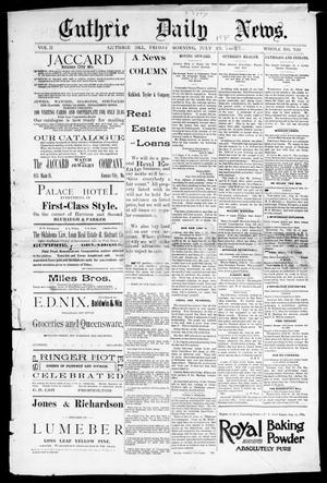 Primary view of Guthrie Daily News. (Guthrie, Okla.), Vol. 2, No. 320, Ed. 1 Friday, July 25, 1890