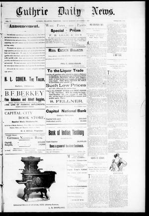 Primary view of Guthrie Daily News. (Guthrie, Okla. Terr.), Vol. 5, No. 1326, Ed. 1 Friday, November 3, 1893