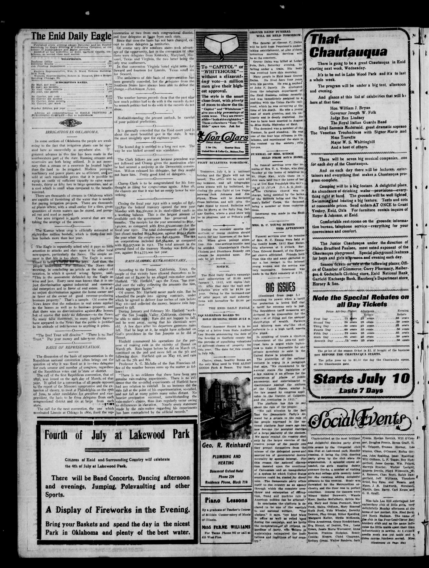 The Enid Daily Eagle. (Enid, Okla.), Vol. 11, No. 84, Ed. 1 Wednesday, July 3, 1912                                                                                                      [Sequence #]: 2 of 6