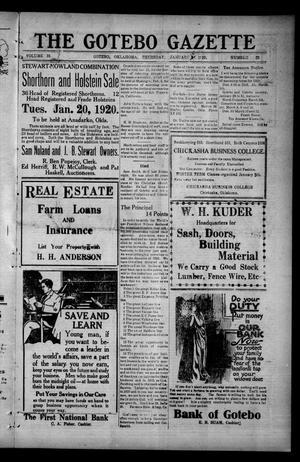 Primary view of The Gotebo Gazette (Gotebo, Okla.), Vol. 19, No. 22, Ed. 1 Thursday, January 15, 1920