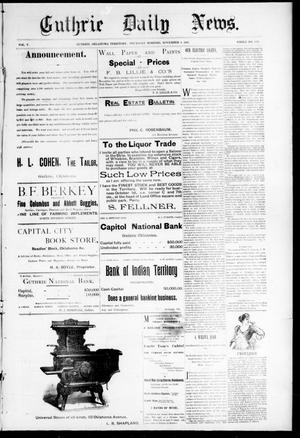 Primary view of object titled 'Guthrie Daily News. (Guthrie, Okla. Terr.), Vol. 5, No. 1325, Ed. 1 Thursday, November 2, 1893'.