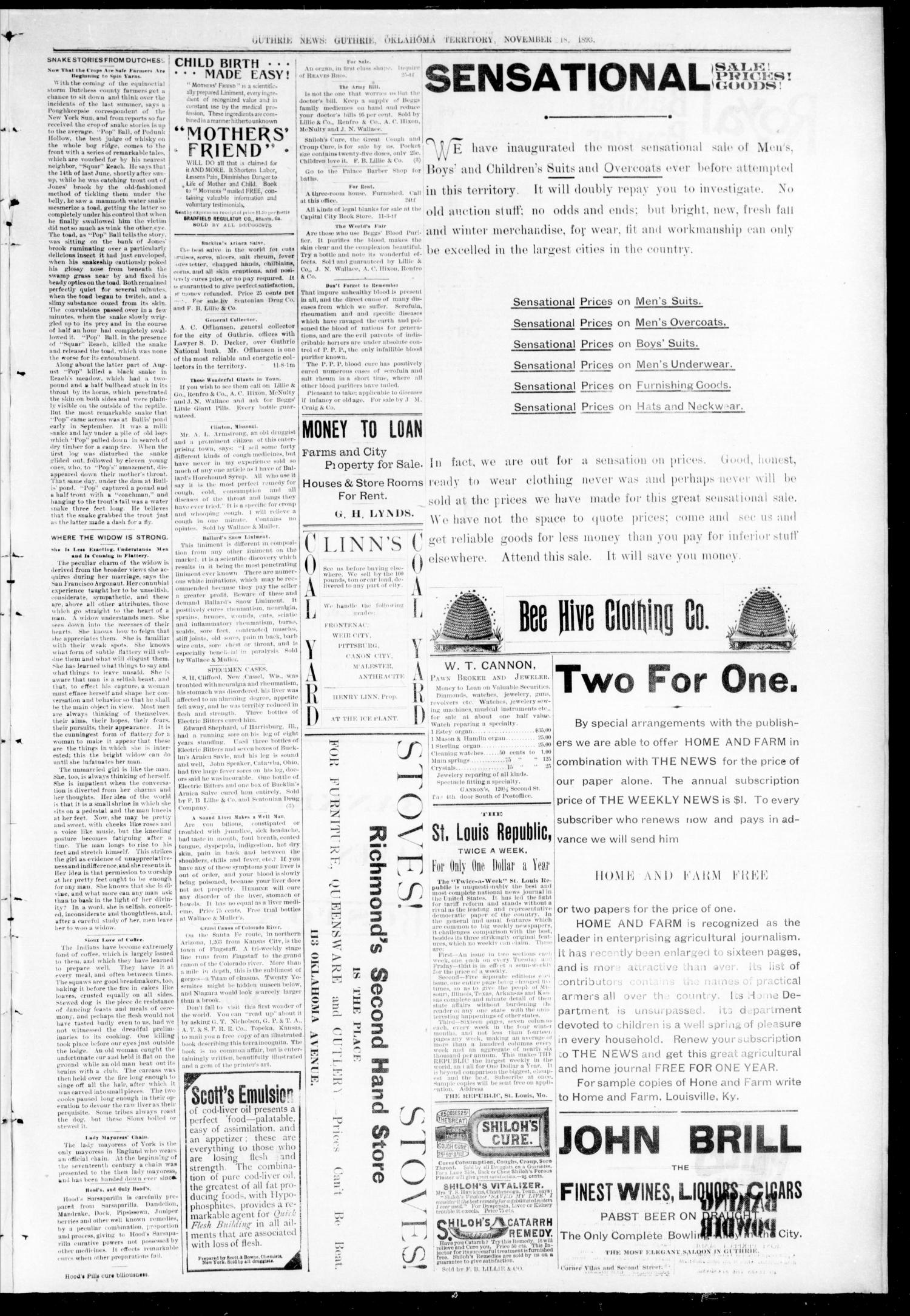 Guthrie Daily News. (Guthrie, Okla. Terr.), Vol. 5, No. 1339, Ed. 1 Saturday, November 18, 1893                                                                                                      [Sequence #]: 3 of 4