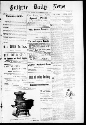 Primary view of object titled 'Guthrie Daily News. (Guthrie, Okla. Terr.), Vol. 5, No. 1322, Ed. 1 Sunday, October 29, 1893'.