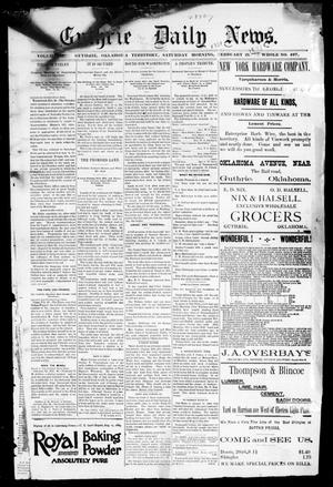 Primary view of object titled 'Guthrie Daily News. (Guthrie, Okla. Terr.), Vol. 2, No. 497, Ed. 1 Saturday, March 21, 1891'.