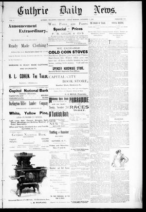 Primary view of object titled 'Guthrie Daily News. (Guthrie, Okla. Terr.), Vol. 5, No. 1338, Ed. 1 Friday, November 17, 1893'.
