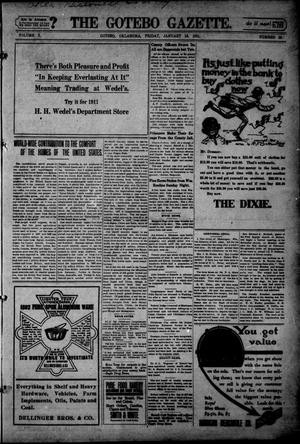 Primary view of object titled 'The Gotebo Gazette. (Gotebo, Okla.), Vol. 10, No. 23, Ed. 1 Friday, January 13, 1911'.