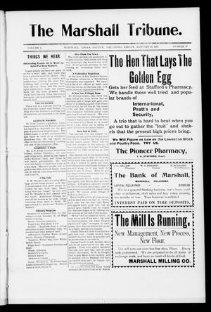 Primary view of object titled 'The Marshall Tribune. (Marshall, Okla.), Vol. 3, No. 38, Ed. 1 Friday, January 20, 1905'.