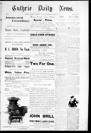 Primary view of object titled 'Guthrie Daily News. (Guthrie, Okla. Terr.), Vol. 5, No. 1342, Ed. 1 Wednesday, November 22, 1893'.