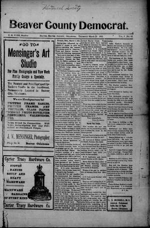 Primary view of object titled 'Beaver County Democrat. (Beaver, Okla.), Vol. 5, No. 43, Ed. 1 Thursday, March 23, 1911'.