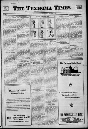 Primary view of object titled 'The Texhoma Times (Texhoma, Okla.), Vol. 19, No. 9, Ed. 1 Friday, November 25, 1921'.