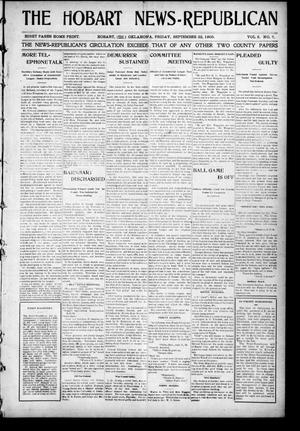Primary view of object titled 'The Hobart News--Republican (Hobart, Okla.), Vol. 5, No. 7, Ed. 1 Friday, September 22, 1905'.