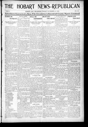 Primary view of object titled 'The Hobart News--Republican (Hobart, Okla.), Vol. 5, No. 17, Ed. 1 Friday, November 24, 1905'.