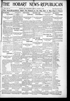 Primary view of object titled 'The Hobart News--Republican (Hobart, Okla.), Vol. 5, No. 52, Ed. 1 Friday, August 3, 1906'.