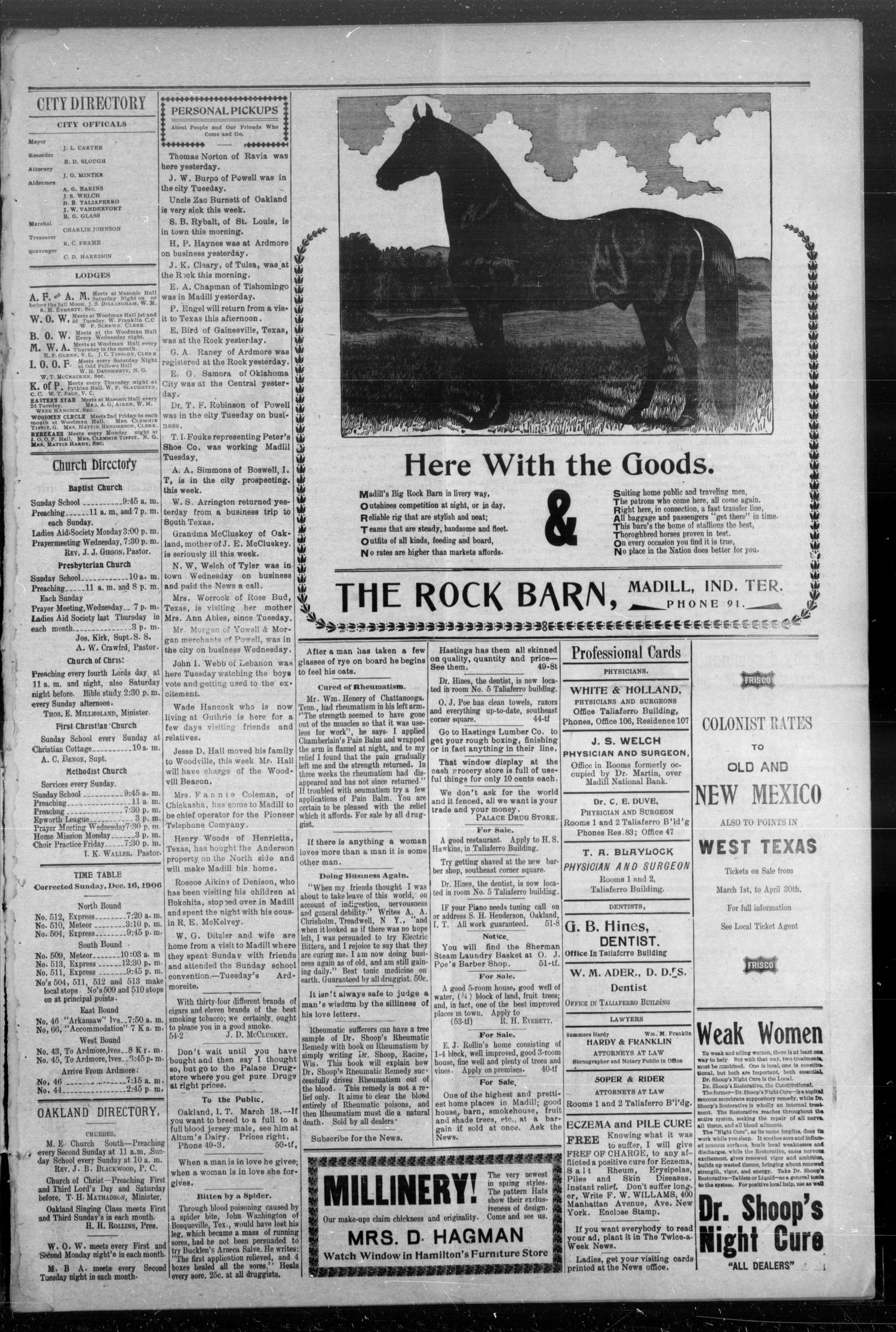 The Madill Twice--A--Week News. (Madill, Indian Terr.), Vol. 12, No. 54, Ed. 1 Friday, April 5, 1907                                                                                                      [Sequence #]: 3 of 4
