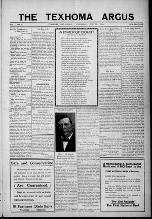 Primary view of object titled 'The Texhoma Argus (Texhoma, Okla.), Vol. 7, No. 26, Ed. 1 Thursday, July 23, 1914'.