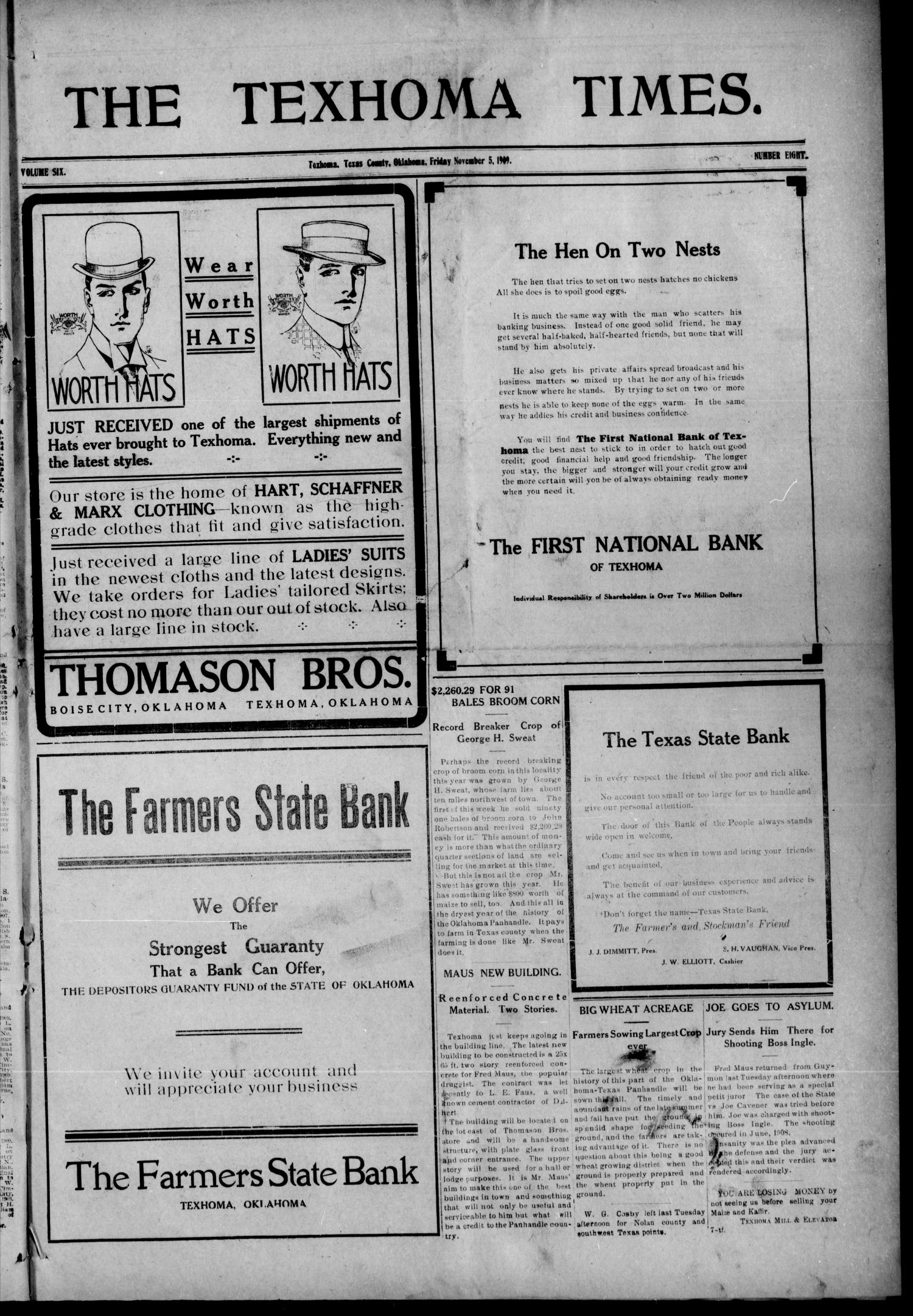 The Texhoma Times. (Texhoma, Okla.), Vol. 6, No. 8, Ed. 1 Friday, November 5, 1909                                                                                                      [Sequence #]: 1 of 8