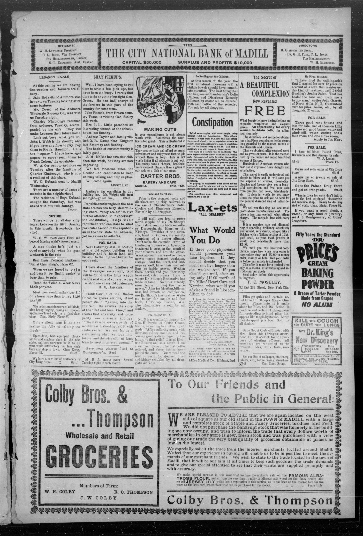 The Madill Twice--A--Week News. (Madill, Indian Terr.), Vol. 12, No. 78, Ed. 1 Friday, June 28, 1907                                                                                                      [Sequence #]: 3 of 4