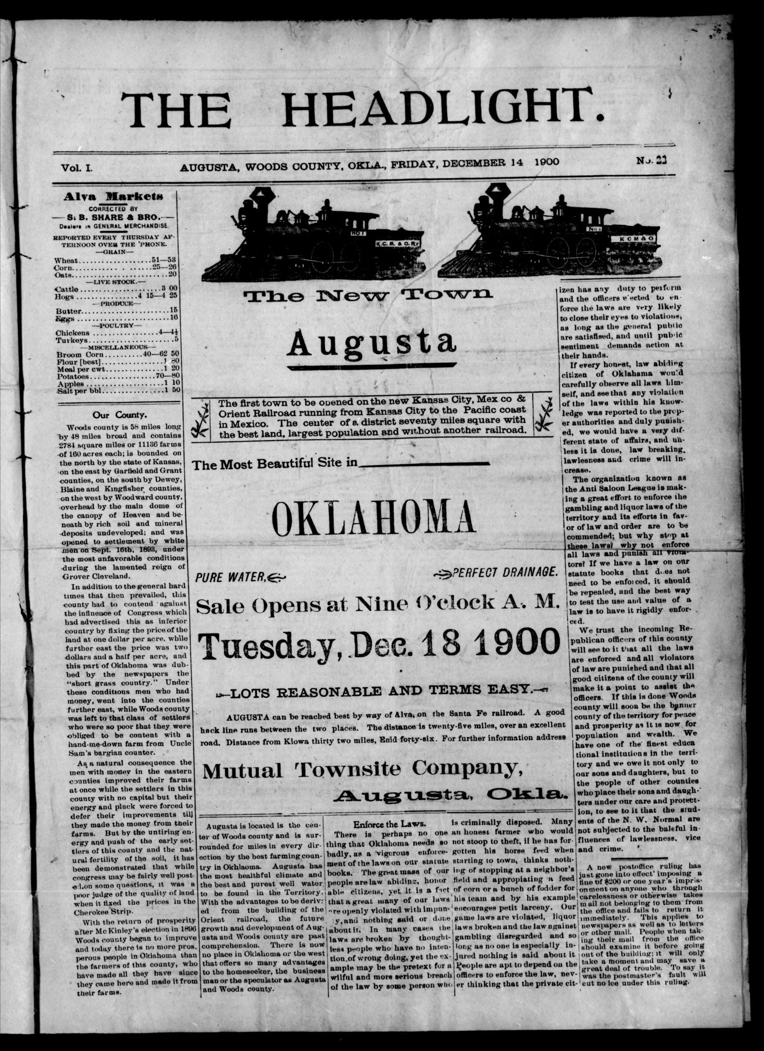 The Headlight. (Augusta, Okla.), Vol. 1, No. 22, Ed. 1 Friday, December 14, 1900                                                                                                      [Sequence #]: 1 of 8