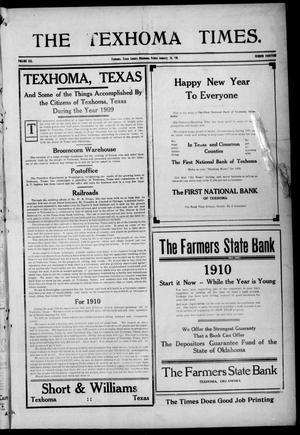 Primary view of object titled 'The Texhoma Times. (Texhoma, Okla.), Vol. 6, No. 18, Ed. 1 Friday, January 14, 1910'.