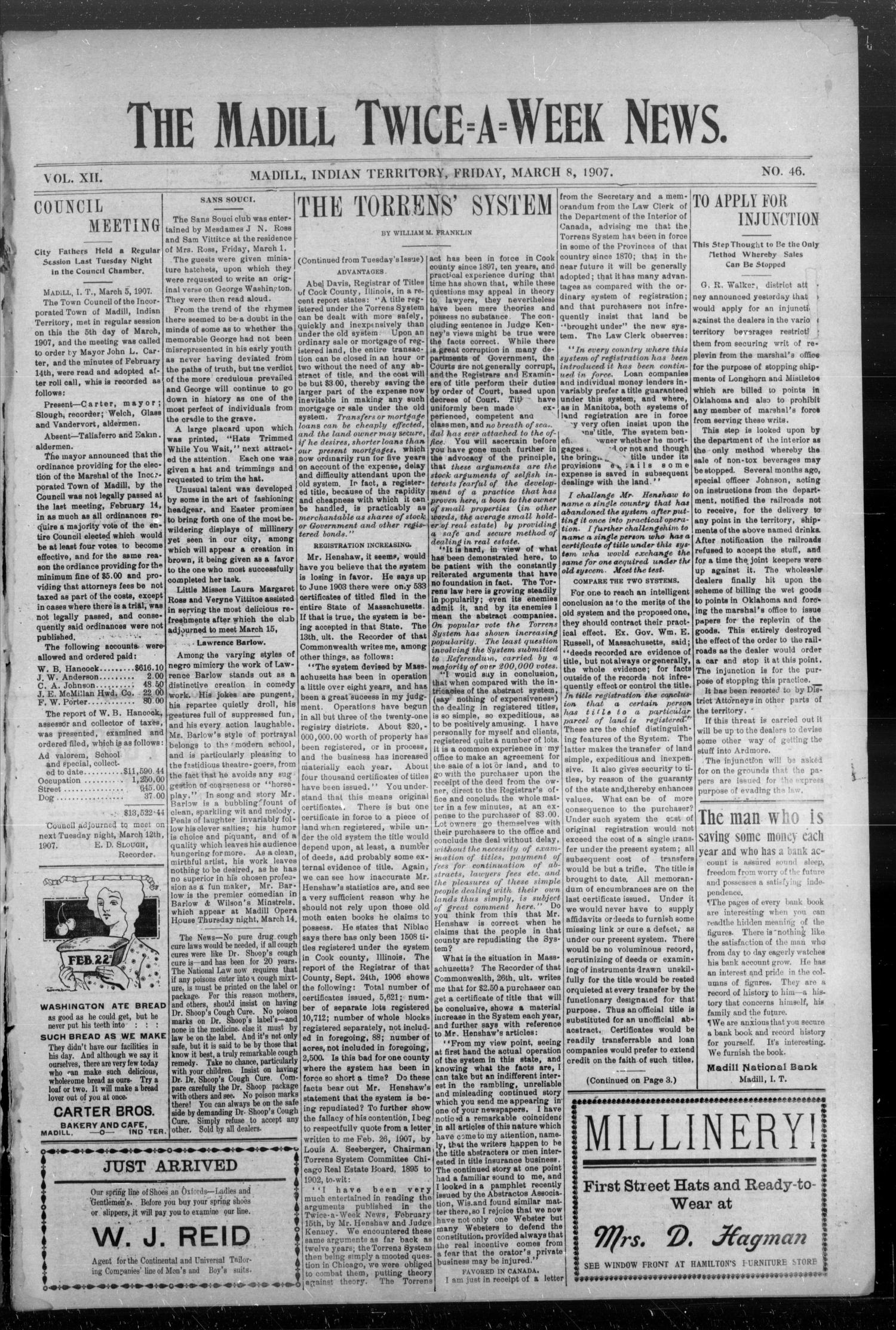 The Madill Twice--A--Week News. (Madill, Indian Terr.), Vol. 12, No. 46, Ed. 1 Friday, March 8, 1907                                                                                                      [Sequence #]: 1 of 4