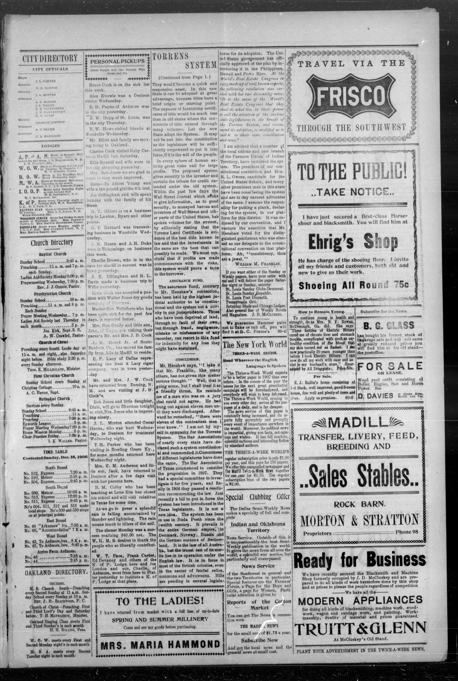 The Madill Twice--A--Week News. (Madill, Indian Terr.), Vol. 12, No. 46, Ed. 1 Friday, March 8, 1907                                                                                                      [Sequence #]: 3 of 4