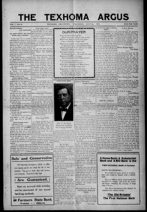Primary view of object titled 'The Texhoma Argus (Texhoma, Okla.), Vol. 7, No. 28, Ed. 1 Thursday, July 16, 1914'.