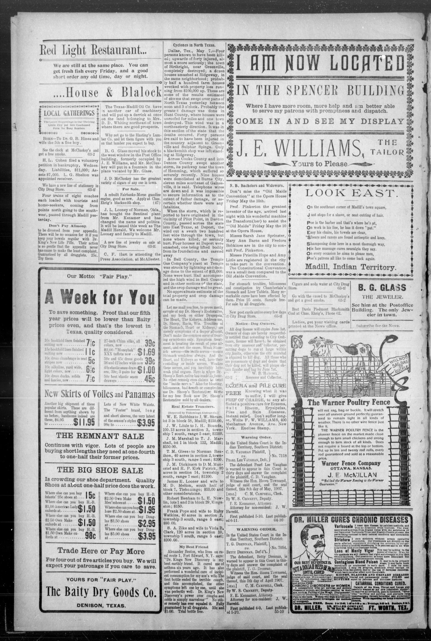 The Madill Twice--A--Week News. (Madill, Indian Terr.), Vol. 12, No. 64, Ed. 1 Friday, May 10, 1907                                                                                                      [Sequence #]: 4 of 4