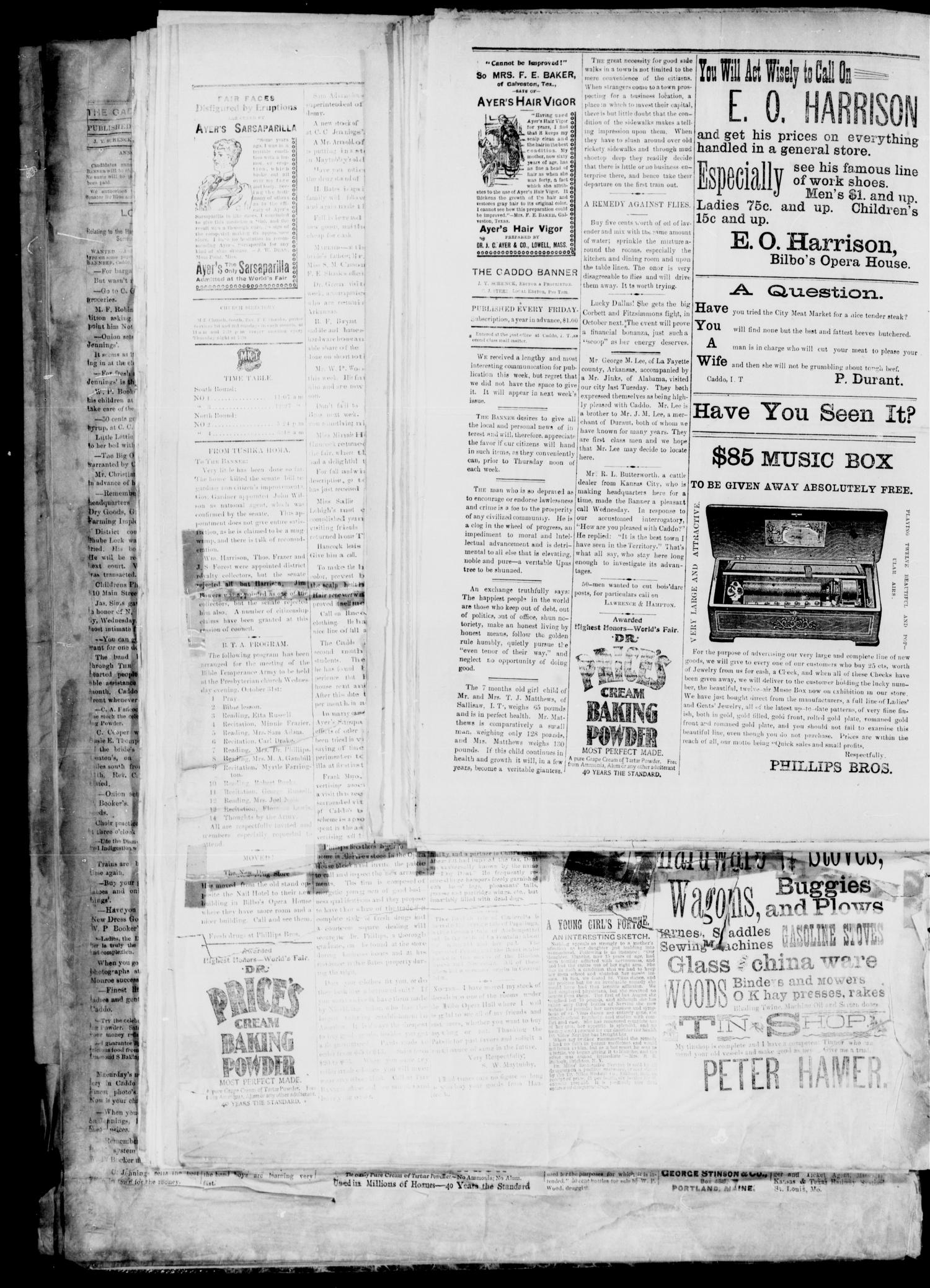 The Caddo Banner. (Caddo, Indian Terr.), Vol. 5, No. 22, Ed. 1 Friday, June 7, 1895                                                                                                      [Sequence #]: 4 of 8