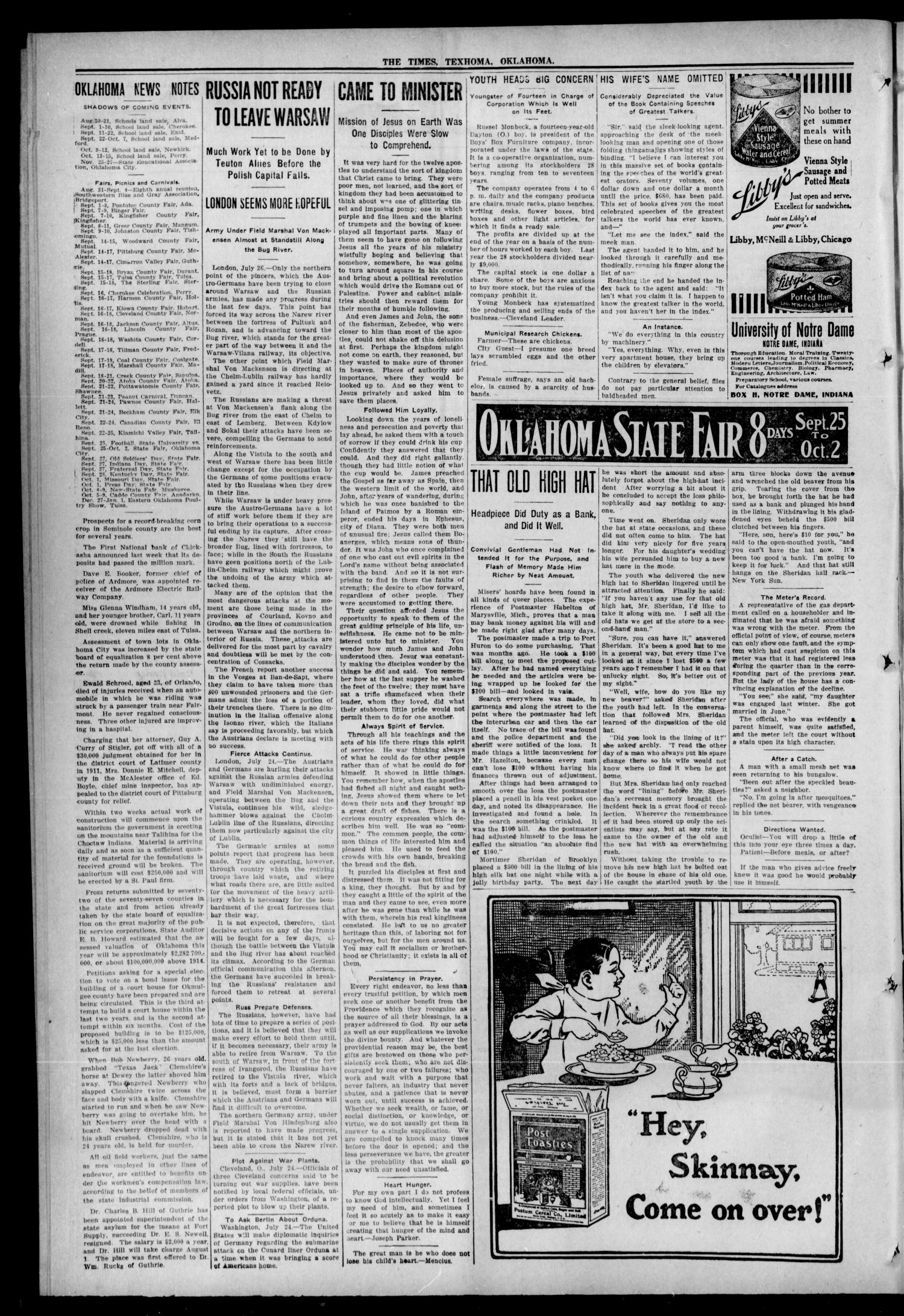The Texhoma Times (Texhoma, Okla.), Vol. 12, No. 45, Ed. 1 Friday, July 30, 1915                                                                                                      [Sequence #]: 2 of 10